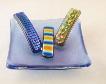Dichroic Barrette - Stars - Cobalt blue - Strips - Confetti - Genuine made in France barrette (2593-3317-5499)