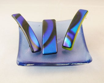 "Teal and Purple Barrette - Circles of color barrette - Genuine French barrette - 3"" (2510-5617-5618)"