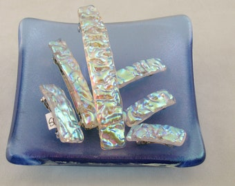 """Yellow Green Dichroic barrette - small to large barrettes - 2""""- 3"""" - 4""""- mini barrette - textured barrette (5701-5734-5735)"""