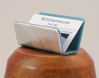 Business card holder - Dichroic Fused glass - pink with blue - one of a kind