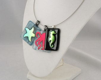 Sea Life - Sea Star - Octopus - Sea horse - dichroic pendant - dichroic jewelry - starfish necklace - Under the water (1542-5533-5534)