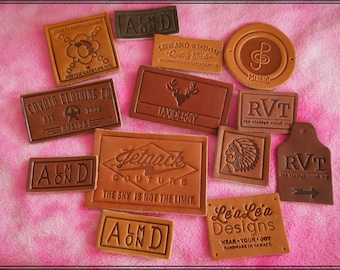 300 Custom Leather labels personalized genuine tags jeans logo -Garment,Fabric,Clothing