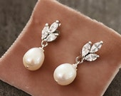 1930s Jewelry | Art Deco Style Jewelry Delicate Rhinestone and Freshwater Pearl Post Drop Earrings $32.00 AT vintagedancer.com