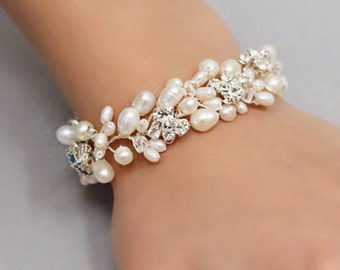 Wedding Jewelry Full Freshwater Pearl Bracelet with Rhinestones