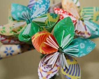 Festively Funky Origami (kusudama) flowers (bouquet of 6)
