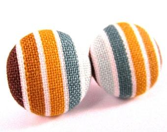 Brown stripes earrings - Brown stripes stud earrings - Brown stripes studs - Brown stripe posts - Brown stripes post earrings sf1312