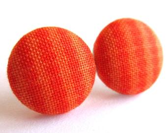 Orange Stripes earrings - Orange dot stripe stud earrings - Orange posts - Stripes studs - Dots post earrings sf1295
