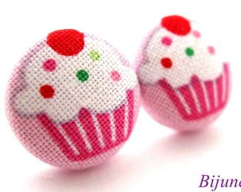 Cupcake earrings - Pink cupcake stud earrings - Cupcake posts - Cupcake studs - Cupcake post earrings sf826