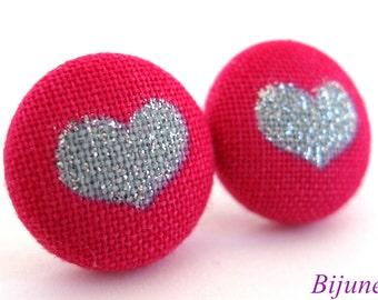 Glitter heart stud earrings- Heart earrings - Valentine heart earrings - Heart studs - Pink heart posts - Pink heart post earrings sf909
