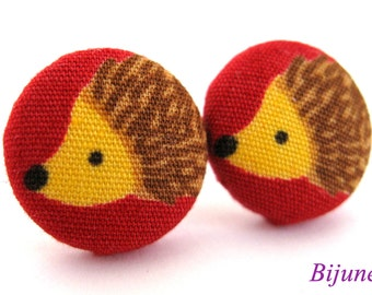 Hedgehog earrings - Red hedgehog stud earrings - Hedgehog posts - Hedgehog studs sf933