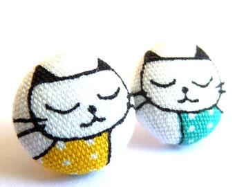 Blue cat stud earrings - Blue cat earrings - Cat studs - Blue cat jewelry - Blue cat posts earrings sf1270