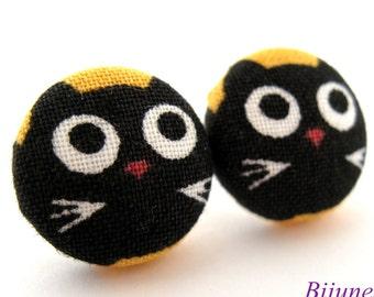 Cat earrings - Black cat stud earrings - Cat studs - Black post earrings sf851