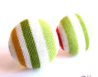 Stripes earrings - Green stripe stud earrings - Green stripes posts - Green stripes studs - Green stripes post earrings sf1305