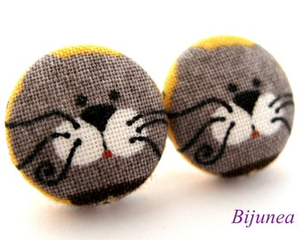 Cat earrings - Grey cat stud earrings - Cat studs - Grey cat posts - Grey cat post earrings sf854