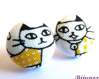 Yellow cat stud earrings - Yellow cat earrings - Cat studs - Yellow cat jewelry - Yellow cat posts earrings sf1267