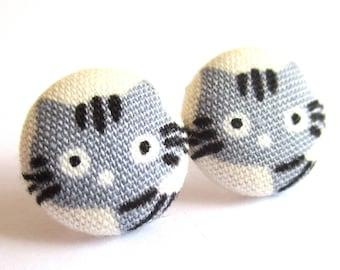 Cat earrings - Grey cat stud earrings - Cat studs - Grey cat posts - Grey cat post earrings sf1381