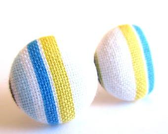 Stripe earrings - Blue stripe stud earrings - Blue stripes posts - Orange blue stripes post earrings sf1359