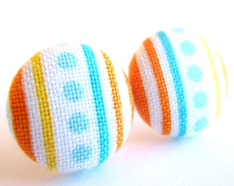 Stripe earrings - Blue stripe stud earrings - Blue dots posts - Orange blue stripes post earrings sf1349