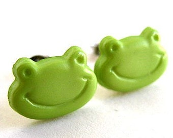 Frog earrings - Green frog stud earrings - Frog studs - Frog post earrings sp273