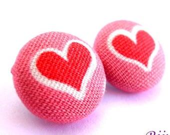 Heart earrings - Pink heart stud earrings - Valentine heart studs - Valentine heart post earrings sf500