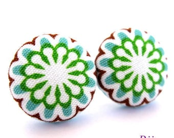 Indian earrings - Green indian stud earrings sf701