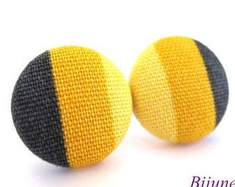Stripes earrings Yellow stripes stud earrings - Yellow stripes studs - Yellow stripes posts - Yellow stripes posts earrings sf720