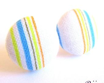 Stripe earrings - Blue stripe stud earrings - Blue stripes posts - Orange blue stripes post earrings sf1354