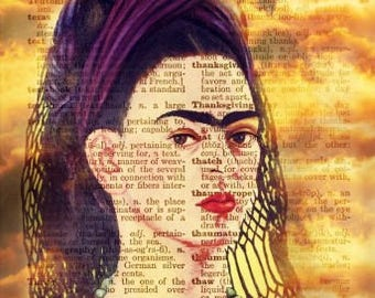 Frida Kahlo Stormy Collage Reproduction Fabric Quilt Block Free Shipping World Wide (K10