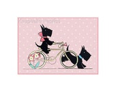 Scottie Dogs Bicycle Crazy Quilt Fabric Block Free Shipping World Wide S22