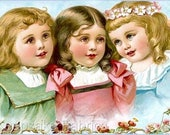 3 Sweet Victorian Girls Pastels Reproduction Fabric Crazy Quilt Block Free Shipping World Wide