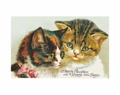 Christmas Cats Reproduction Fabric Crazy Quilt Block Free Shipping World Wide (C6