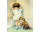 Girl Pup In Disgrace Gutmann Reproduction Fabric Crazy Quilt Block Free Shipping World Wide
