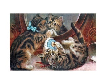 Vintage Kittens playing with Goldfish Quilting Fabric Block