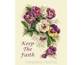 Pansies Keep The Faith Reproduction Fabric Crazy Quilt Block Free Shipping World Wide