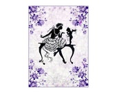 Silhouette Lady Scolds Cupid Purple Roses Fabric Crazy Quilt Block Free Shipping World Wide