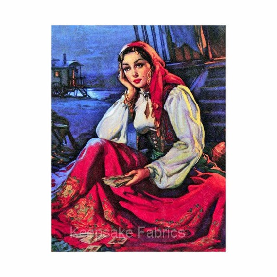 Gypsy Fortune Teller Reproduction Fabric Crazy Quilt Block Free Shipping  World Wide