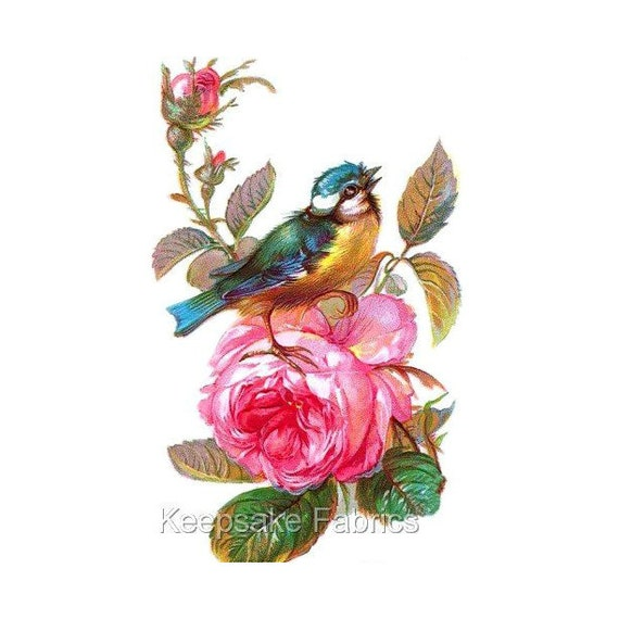 Birds Roses Fabric Quilt Block Multi Sizes FrEE ShiPpING WoRld WiDE K2
