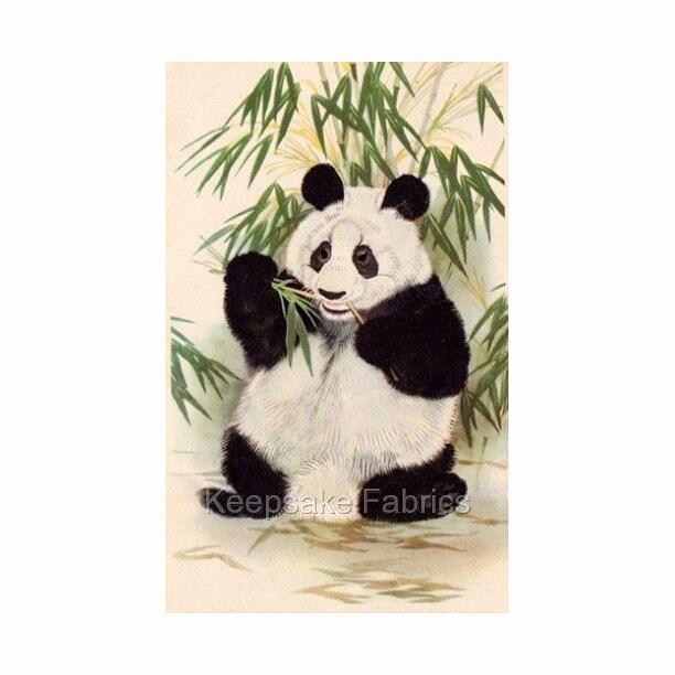 Panda Bear Bamboo Reproduction Fabric Crazy Quilt Block