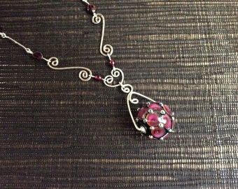 Garnet rose lamp glass pendant with garnet and sterling silver wire art