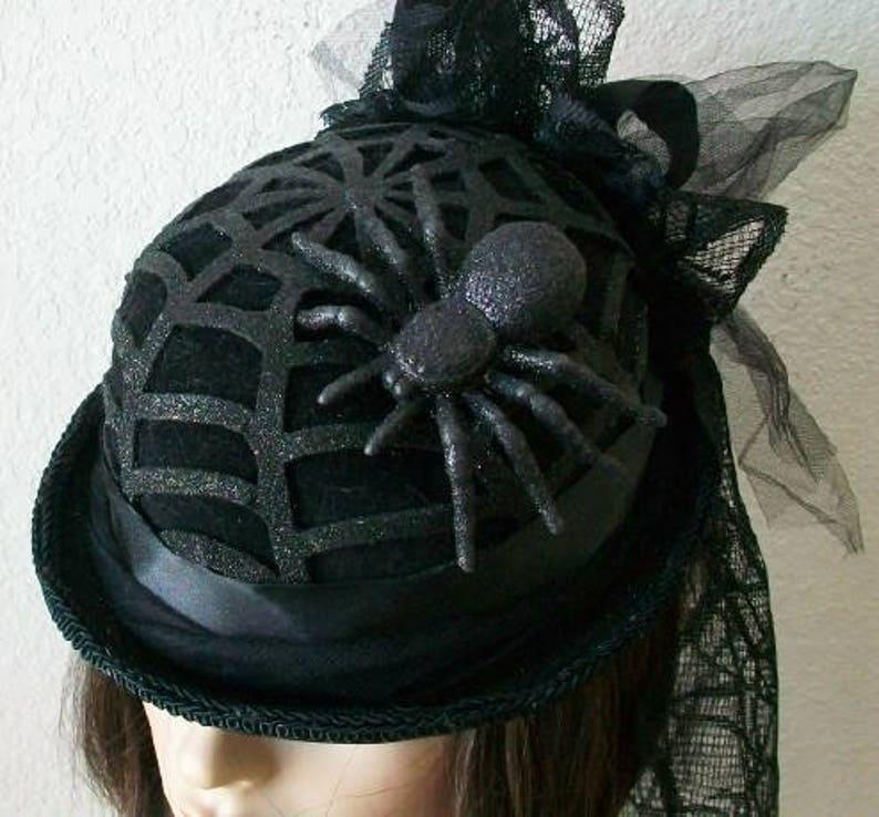 ac5c9ebba9951 Halloween Black Widow Spider Web Bolo Derby Bowler