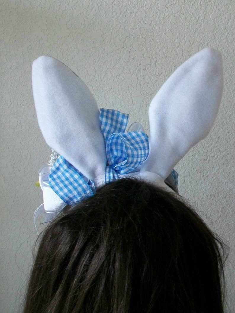 Blue Carnations Hidden Easter Bunny Steampunk Costume Easter Bunny Hat Pink Roses Blue Bunny Ear Headband Blue /& White Check Bunny Ears