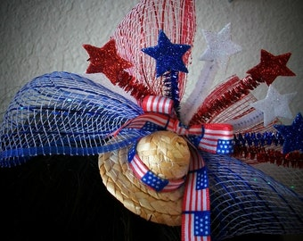 4th of JULY Tiny Little Mini Straw Hat Fascinator, Red White and Blue, Stars, , Netting Fourth of July