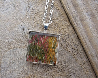 SALE: recycled fabric glass tile pendant necklace - pink, green and sunshine yellow