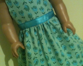 Aqua and Blue Floral Dress / doll clothes fits American Girl doll
