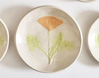 California Poppy: pottery ring dish handmade botanical decor ceramic plate orange white green