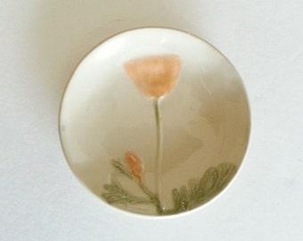 Botanic design ceramic Dish: soft  orange white California Poppy flower plate handmade by potter