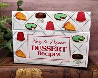 Vintage 70s 80s Nabisco Dessert Recipe File - Litho Tin container - Kitchen Collectible Decor