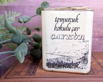 Vintage Turkish Tea Tin Canister - Caykur Tomurcuk Kokulu çay
