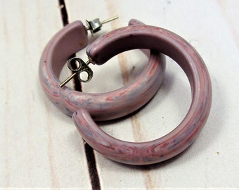 Swirled Purple Blue and Red End-of-Day Lucite Hoop Earrings