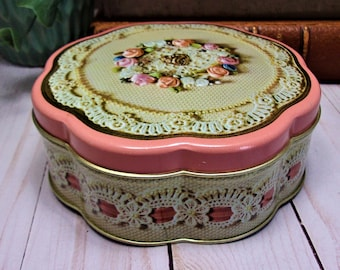 Vintage 80s AVON Valentines Day 1981 - Litho Tin Canister - Victorian Lace and Hearts